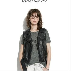 Madewell 100% leather racer moto tour vest